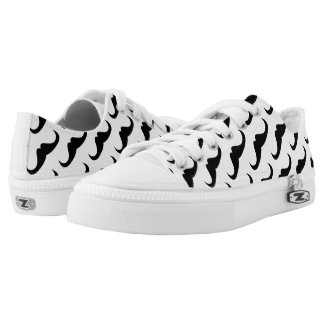 Cool Black Handlebar moustache on White pattern Printed Shoes