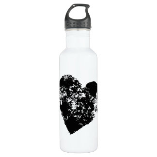 Cool black heart 710 ml water bottle