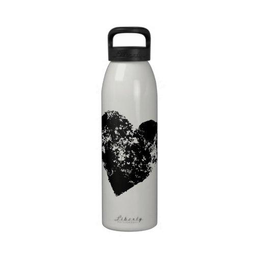Cool black heart water bottle