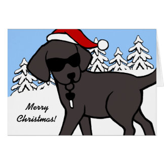 Cool Black Labrador Dark Cartoon Christmas Cards