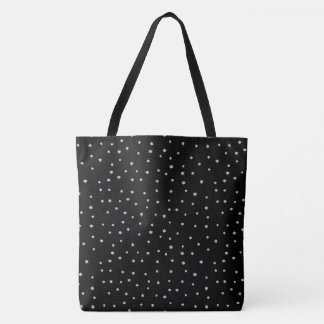 Cool Black Night Stars Print Tote Bag