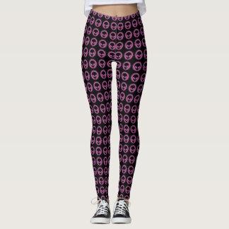 Cool Black & Pink Tribal Alien Symbol Pattern Leggings