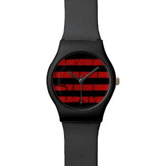 cool black red stripes stylish wristwatch