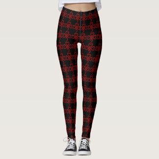 Cool Black & Red Triple Tribal Hearts Pattern Leggings