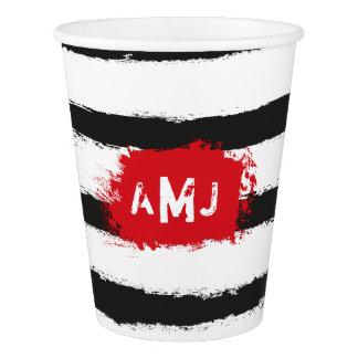 Cool BLACK STRIPES  + Custom Couple Monogram Paper Cup