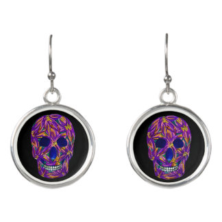 Cool Black Sugar Skull Drop Earrings