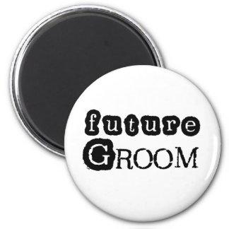 Cool Black Text Future Groom 6 Cm Round Magnet