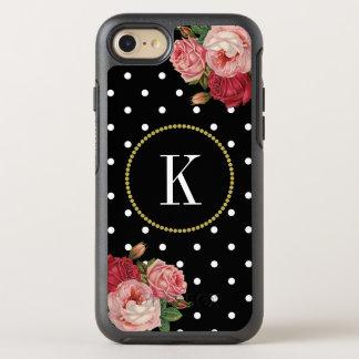 Cool Black Vintage Floral Dots Gold Monogram OtterBox Symmetry iPhone 8/7 Case