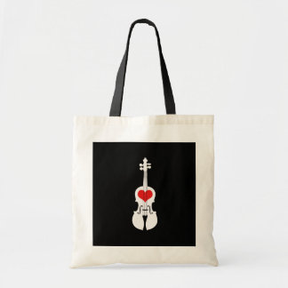 Cool Black Violin Tote Bag with Red Heart