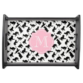 Cool Black & White Cats Pink Monogram Serving Tray