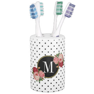 Cool Black White Dots Antique Rose Floral Monogram Soap Dispenser And Toothbrush Holder