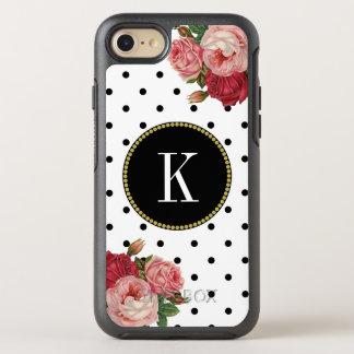 Cool Black White Dots Vintage Floral Gold Monogram OtterBox Symmetry iPhone 8/7 Case