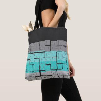 Cool Black White Gray Blue Pattern Tote Bag