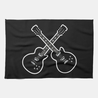 Cool Black & White Guitars Tea Towel
