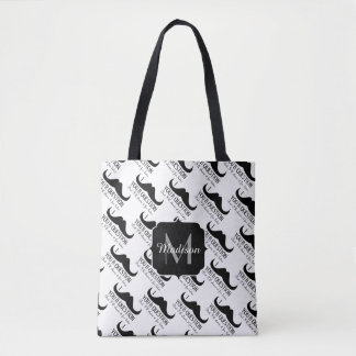 Cool Black White I mustache you a question pattern Tote Bag