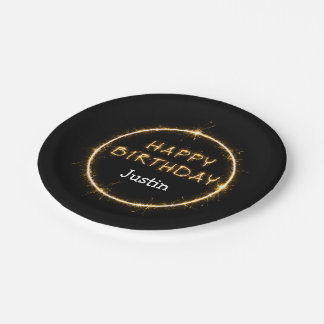 Cool Bling Happy Birthday Plates 7 Inch Paper Plate