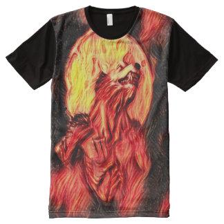 Cool Blood Moon Werewolf Dark Horror Art All-Over Print T-Shirt