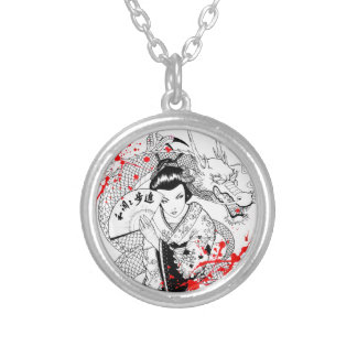 Cool blood splatter geisha with fan dragon tattoo round pendant necklace