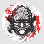 Cool blood splatter samurai demon mask helm tattoo round stickers
