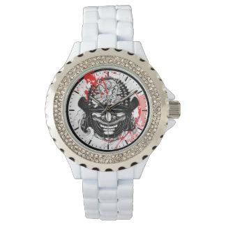 Cool blood splatter samurai demon mask helm tattoo watches