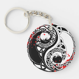 Cool blood splatter Yin Yang Dragons tattoo art Key Ring