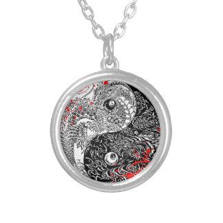 Cool blood splatter Yin Yang Dragons tattoo art Round Pendant Necklace