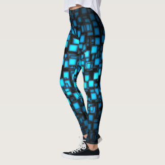 Cool Blue Abstract Cubes Yoga Leggings