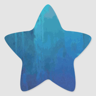 Cool Blue Abstract Dripping Paint Grunge Design Star Sticker