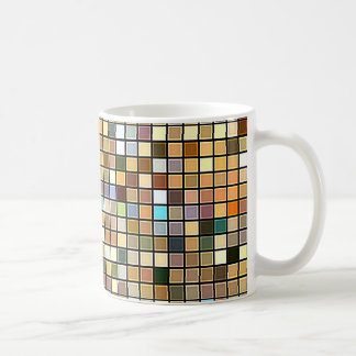 Cool Blue And Earth Tones Square Tiles Pattern Coffee Mug