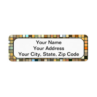 Cool Blue And Earth Tones Square Tiles Pattern Return Address Label
