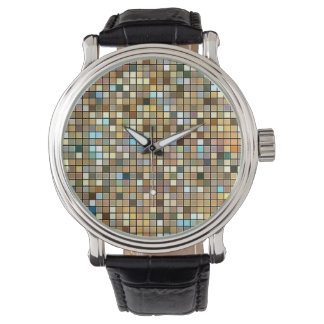Cool Blue And Earth Tones Square Tiles Pattern Wrist Watch