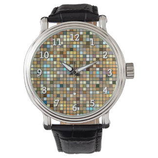 Cool Blue And Earth Tones Square Tiles Pattern Wrist Watches