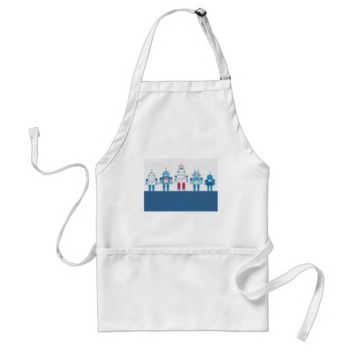 Cool Blue and Red Robots Novelty Gifts Apron