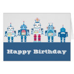 Cool Blue and Red Robots Novelty Gifts Greeting Card