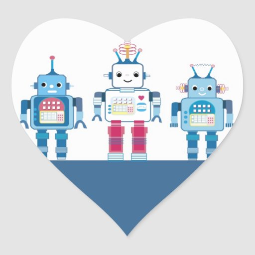 Cool Blue and Red Robots Novelty Gifts Sticker