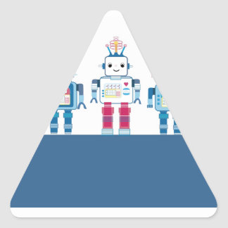 Cool Blue and Red Robots Novelty Gifts Triangle Sticker