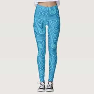 Cool Blue/Aqua/Turquoise Curvy Lined Abstract Leggings