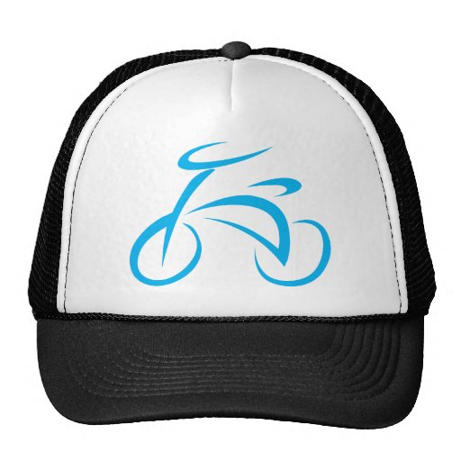 Cool Blue Bicycle Biking Logo Trucker Hat