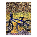 Cool Blue Bike Concentric Circle Mosaic Pattern Post Cards