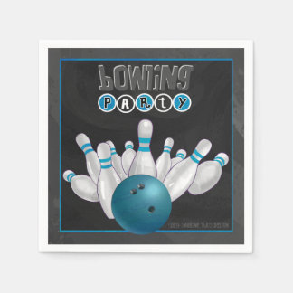 Cool Blue Bowling Party Paper Napkins