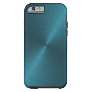 Cool Blue Brushed Metal Tough iPhone 6 Case