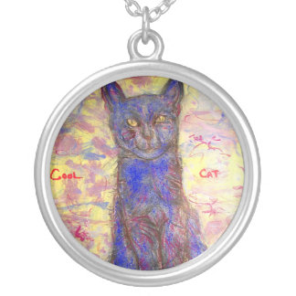 cool blue cat 2 round pendant necklace