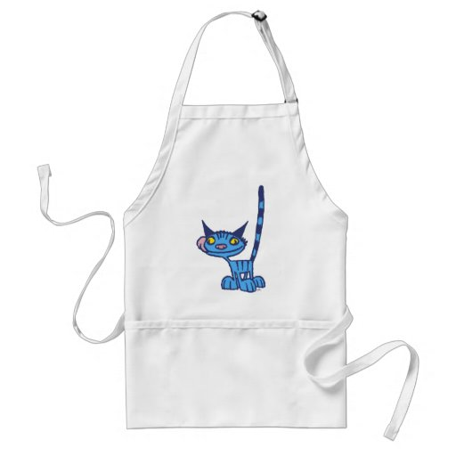 Cool Blue Cat cartoon cooking apron