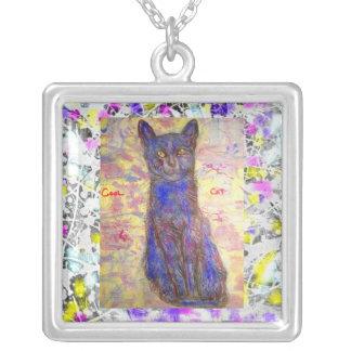 cool blue cat drip square pendant necklace