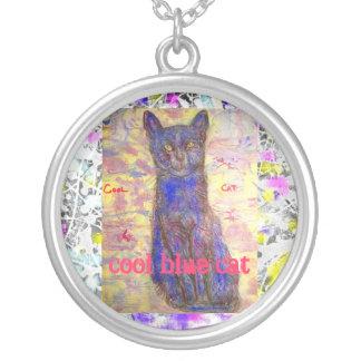 cool blue cat drip slogan pendants