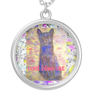cool blue cat drip slogan round pendant necklace