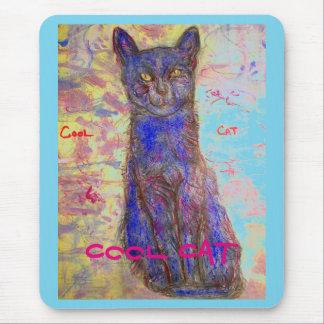 cool blue cat mouse pad