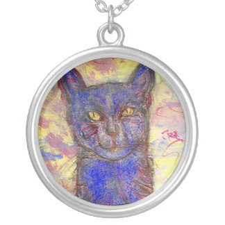 cool blue cat personalized necklace