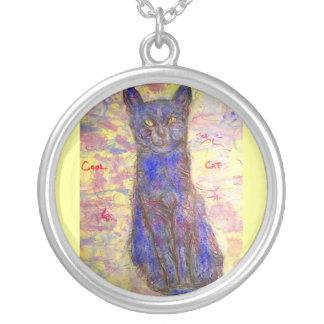 cool blue cat round pendant necklace