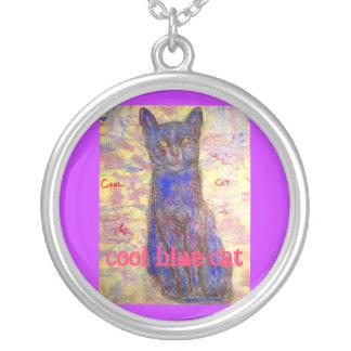 cool blue cat purple slogan custom necklace